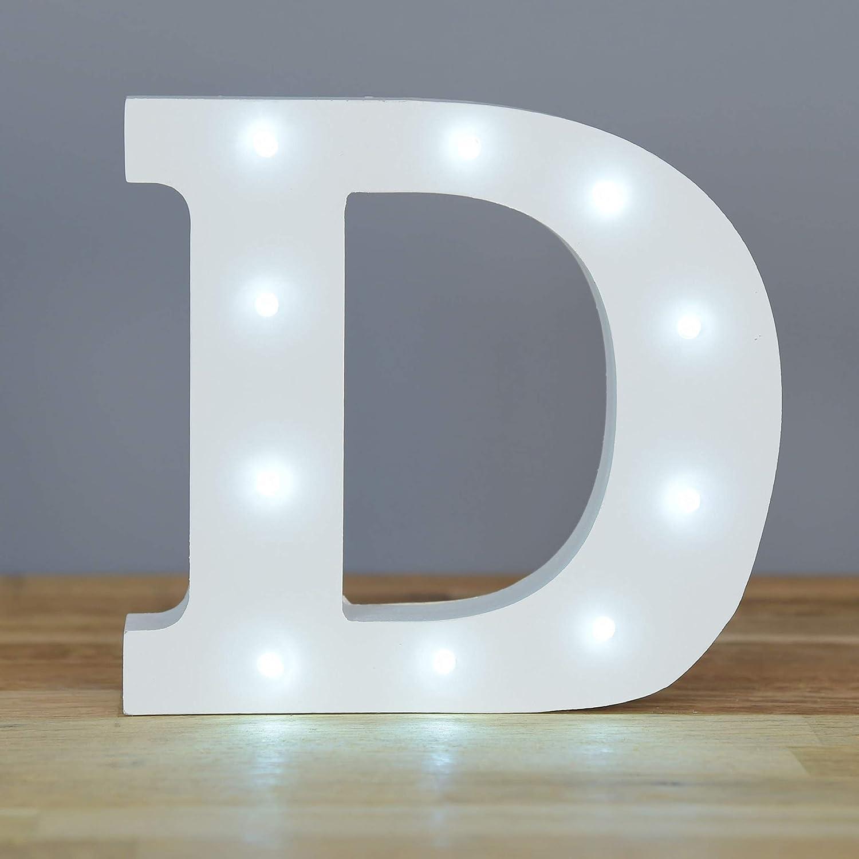 Up in Lights Muestra decorativa de madera blanca de las letras del LED - colgante de pared con pilas - Letra D: Amazon.es: Iluminación