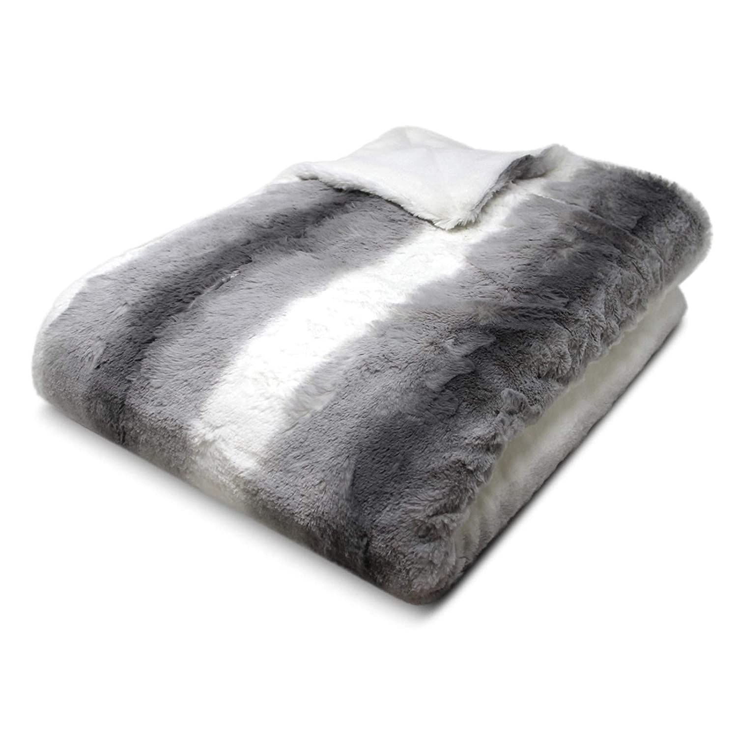 IT IDEAL TEXTILES Luxury Faux Fur Throw, Thick Plush Modern Cosy Throw Blankets, Heavyweight Furry Super Soft Sofa Chair Bed Throws, 130cm x 180cm, Silver, Grey