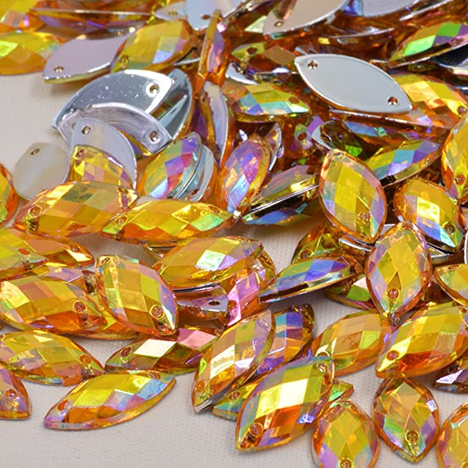 100 pcs x Sew On 7x15 mm Acrylic Rhinestones Yellow Color Navette Shape SALE