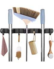 ASKMUSE Broom Holder 3 Racks 4 Hooks, Stainless Steel Mop Holder Wall Mounted and Self Adhensive Garage Tool Organizer, Heavy Duty Hanger for Kitchen Bathroom Garage Garden Closet Tools