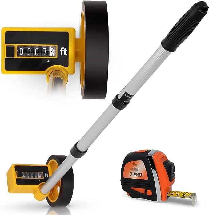 Walking Wheel Measurer 1,000 Foot Distance Measuring Counter Adjustable Handle