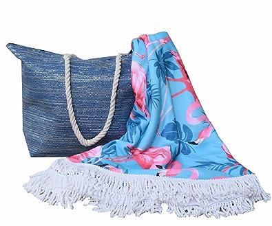 Forneret Bolso azul oscuro brillante tamaño grande+toalla redonda 150 * 150cm de calidad diseño flamencos 2018: Amazon.es: Zapatos y complementos