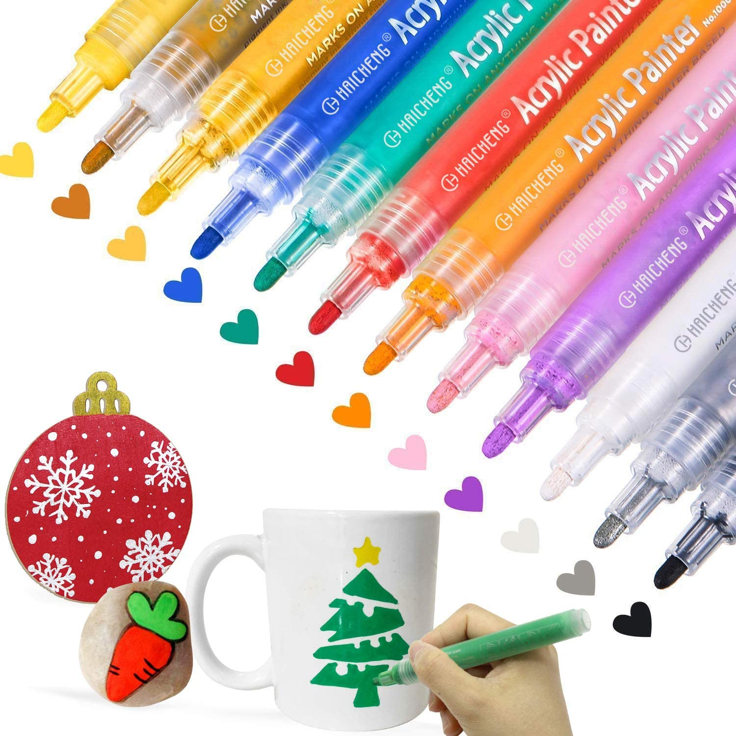 Acrylic Paint Marker Pens for Wood Plastic Canvas Card Making Set of 12 Colors Markers Water Based Paint Pen Suitable for Almost all Surfaces Ceramic Mugs DIY Craft Stone Glass Metel
