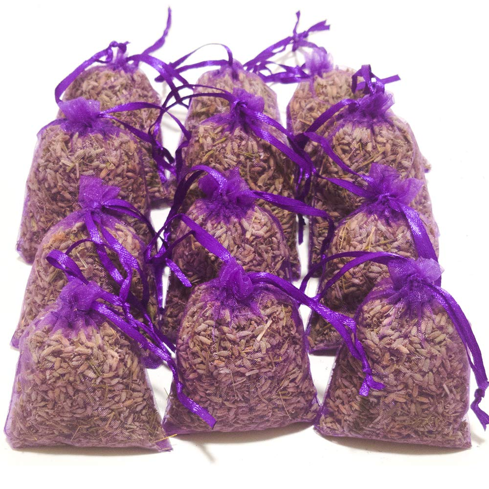 Laodicea Home | Purple Bags, Pack of 18 | Highest Fragrance Lavender Scent Sachets | Dried Lavender Flower Buds Sachets | Natural Deodorizer | Lavender Scented Sachets for Drawer and Closet by Laodicea Home