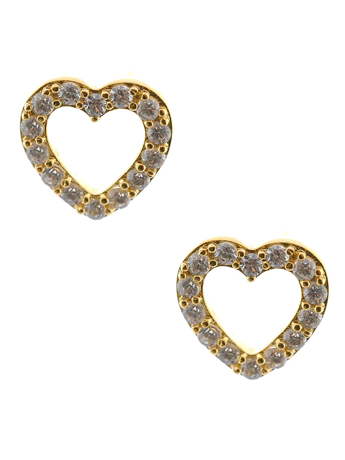 Topwholesalejewel Bridal Earring Cubic Zirconia Brass Gold Plating Heart Stud Earring