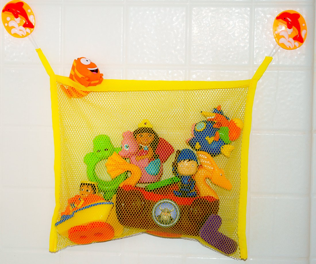 Auntie's Bath Toy Bag & Multi-Purpose Toy Organizer - Perfect for Bath Tubs, Cars, Bedrooms, Bathroom Mirrors - For Babies, Toddlers and Children of All Ages - Fun, Playful, Colorful Mesh Bag with Extra Large Suction Cups for Stronger Hold - Make Bath Time
