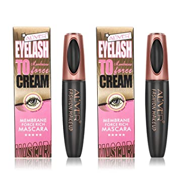 2PCS Mascara Cream, 4D Silk Fiber Eyelash Mascara, Extension Makeup Black Waterproof Eye Lashes