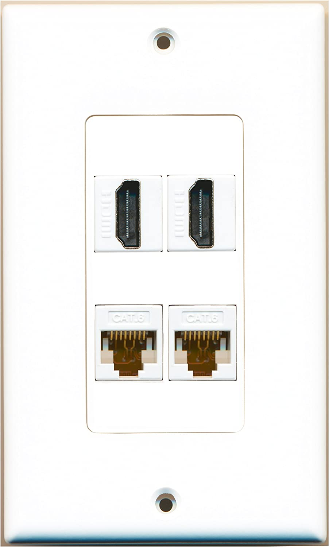 RiteAV 2 Port HDMI 2 Port Cat6 Ethernet White Wall Plate Decorative