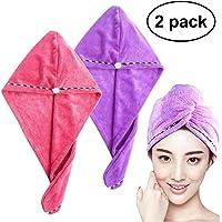 Frcolor Hair Drying Towel Ultra Water Absorbent Twist Hair Turban Drying Cap Hair Wrap (2pcs Pink Purple)