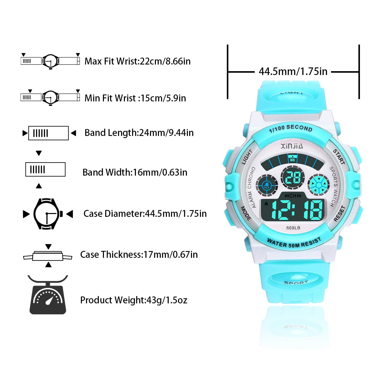 Reloj Digital para Niños,Niños Niñas 50M (5ATM) Impermeable 7 Colores LED Relojes Deportivos Multifuncionales para Exteriores con Alarma (Azul Claro): ...