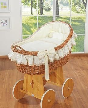 BABY WHITE WICKER BASKET ON WHEELS WITH BEDDING //CRIB //BASSINET NURSERY