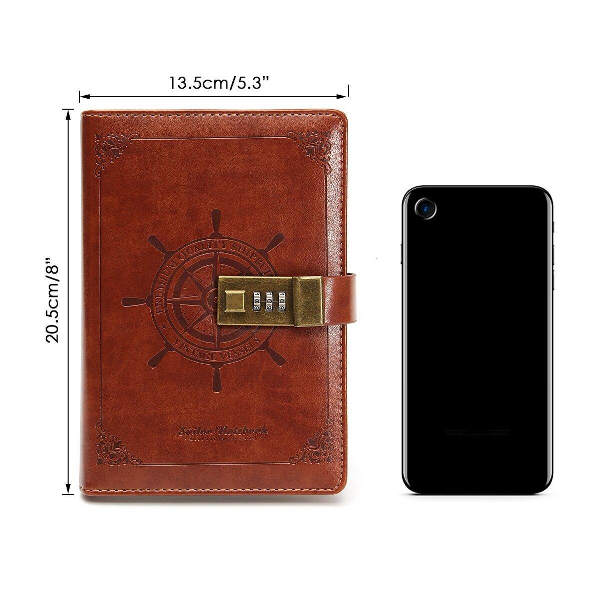 MOHOO Tagebuch Vintage-PU-Leder-Tagebuch Password Notebook, Password ...
