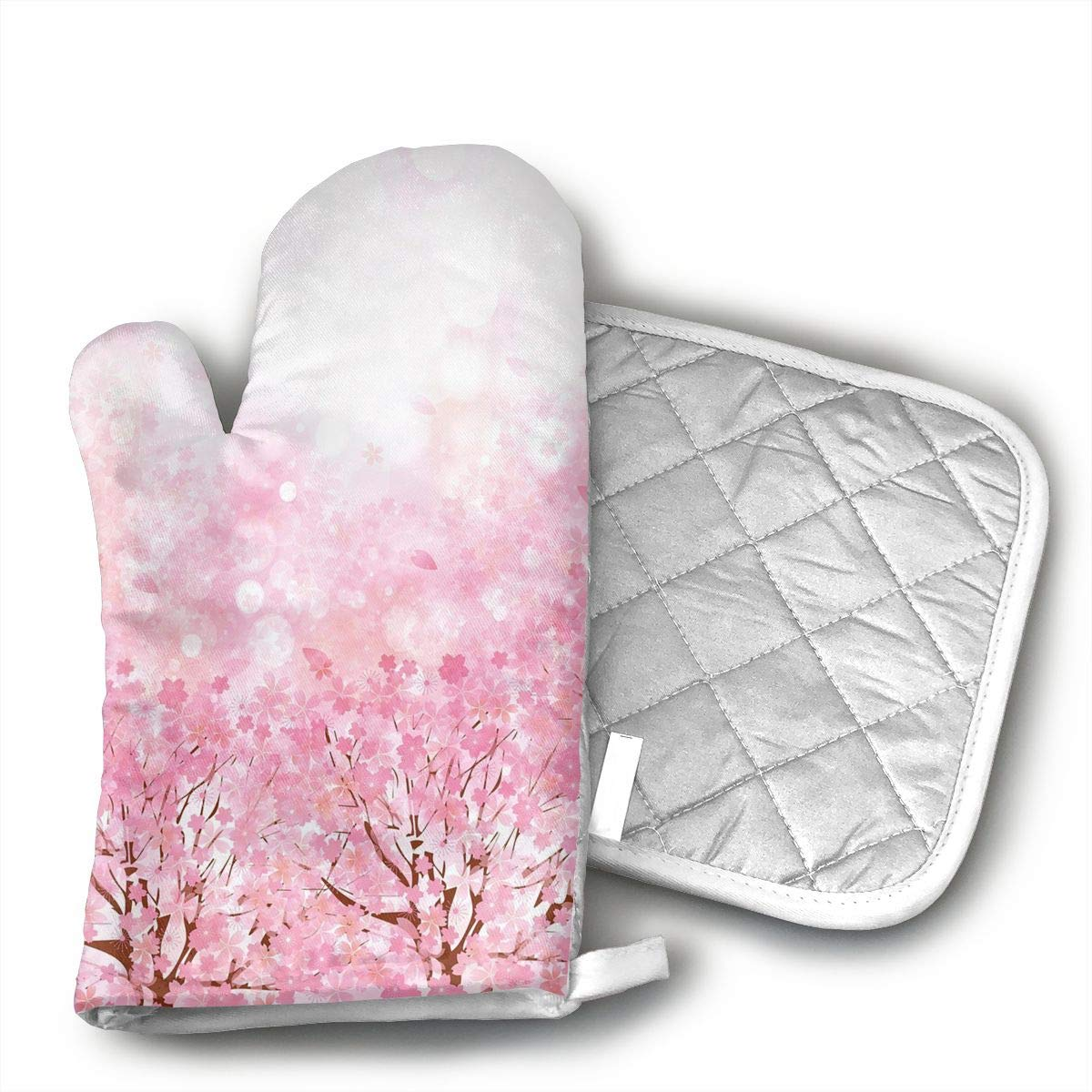 QEDGC Japanese Cherry Blossom Oven Mitts of Quilted Cotton Lining - Heat Resistant Kitchen Gloves,Flame Oven Mitt Set