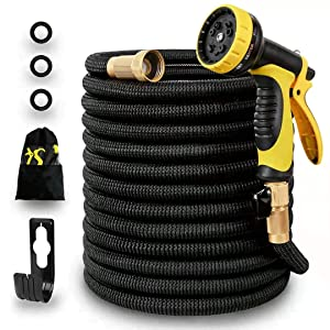 Panda Grip 75ft Garden Water Hose,3750D Expandable and Flexible Strongest Triple Later Core with 3/4 Solid Brass Fittings,10 Function Spray Nozzle,3750D Fabric for Watering Garden,Cleaning