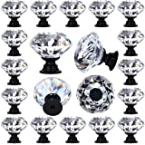 "DeElf 12 PCS Clear Crystal Glass Drawer Cabinet Pulls Knobs Diamond Shape for Kitchen, Dresser, 30mm (1-1/4""), Black Color Ba"