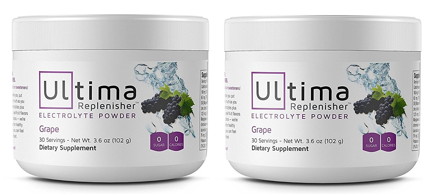 Electrolyte Powder - Balanced, Hydrating Electrolyte Replacement - 30 Serving Canisters - Grape - 3.6 Ounces Each (Pack of 2) by Ultima Replenisher
