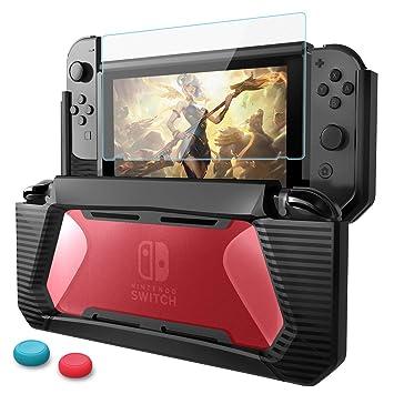 HEYSTOP Funda Nintendo Switch con Protector de Pantalla, TPU PC Carcasa de Protección para Nintendo Switch Consola,Anti-Choques/Arañazo (Negro/Rojo)