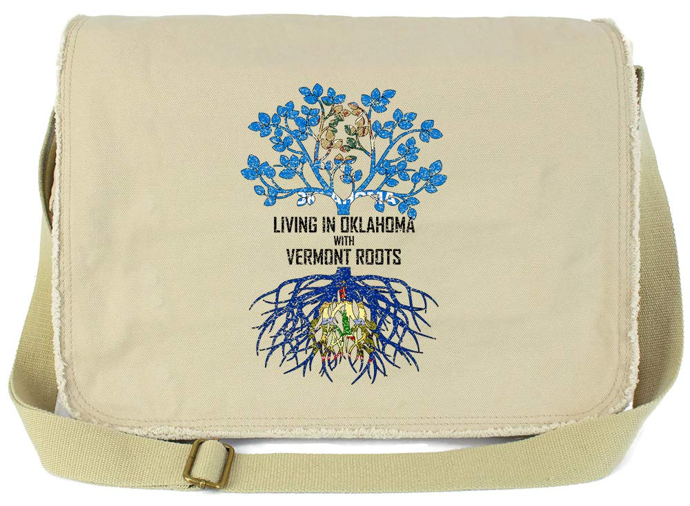 Tenacitee Living In Oklahoma with Vermont Roots Grey Brushed Canvas Messenger Bag