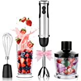 KOIOS Powerful 400W Hand Blender 6-12 Speeds, 4 in 1 Immersion Blender Includes BPA-Free 500ml Food Processor and 600ml Beaker & Stainless Steel Whisk Attachment