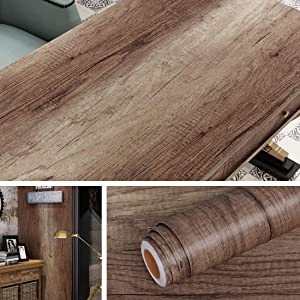 Livelynine Thick Dark Wood Contact Paper Kitchen Cabinet Faux Wood Wallpaper Peel and Stick Contact Paper for Countertops Vinyl Flooring Roll for Kitchen Bedroom Floors Table Removable 15.8x78.8 Inch