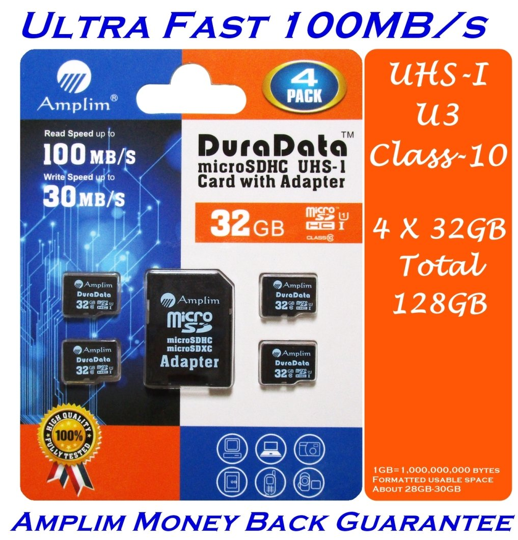 4-Pack 32GB Micro SD SDHC Memory Card Plus Adapter (Class 10 UHS-I U3 MicroSD HC Extreme Pro) 32 GB Ultra High Speed 100MB/s 667X Read UHS-1 MicroSDHC Flash. Amplim Cell Phone Tablet Camera 32G TF