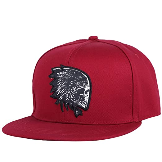 Men Women Hip hop Snapback hat Embroidery Skull Head Pattern Cotton Female Sports Cap Black at Amazon Womens Clothing store: