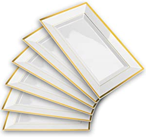 Mint Living - Elegant Plastic Serving Tray & Platter Set (6pk) - White & Gold Rim Disposable Serving Trays & Platters for Food - Weddings, Upscale Parties, Dessert Table, Cupcake display - 8x13 inches