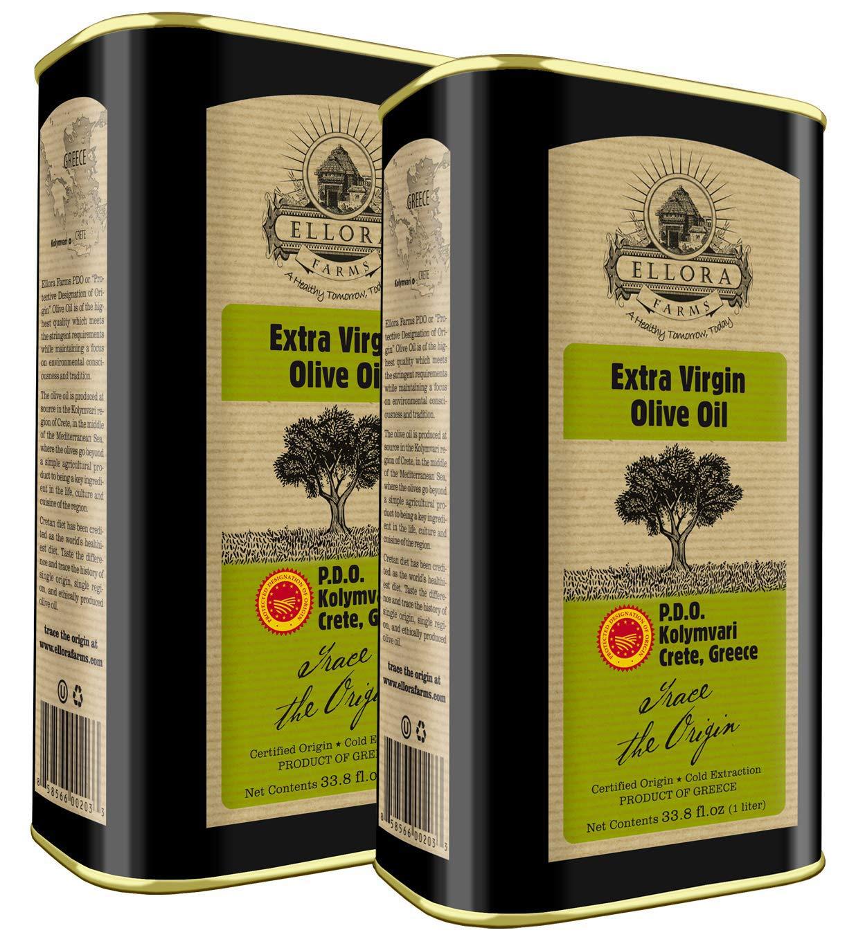 Global Award Winner   Single Estate Greek Extra Virgin Olive Oil   Kosher & Certified PDO Kolymvari   Single Variety Koroneiki Olives   First Cold Press   1Ltr. Tin, 33.8 FL oz.   Pack of 2 by Ellora Farms