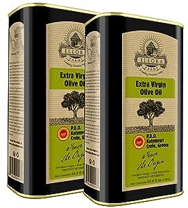 Ellora Farms, 2020 Gold Award New York, Single Estate Greek Extra Virgin Olive Oil, Kosher & Certified PDO Kolymvari, Crete, First Cold-Press, 1 Lt. Tin, 33.8 FL oz., Pack of 2
