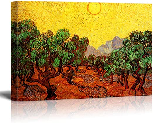 """48/""""x36/"""" OLIVE TREES WITH YELLOW SKY AND SUN by VINCENT VAN GOGH Repro CANVAS"""