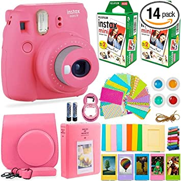 Fujifilm Instax Mini 9 Instant Camera Fujifilm Instax Film 40 Sheets Deals Number One Accessories Bundle Carrying Case Color Filters Photo Album Stickers Selfie Lens Camera Photo