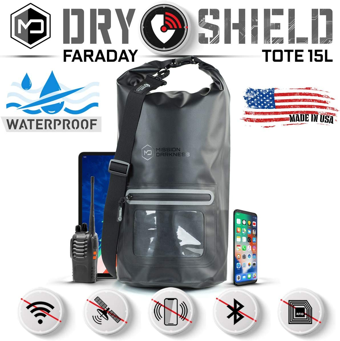 Mission Darkness Dry Shield Faraday Tote 15L // Waterproof Dry Bag for Electronic Device Security & Transport // Signal Blocking, Anti-Tracking, EMP Shield, Data Privacy for Phones, Tablets, Laptops