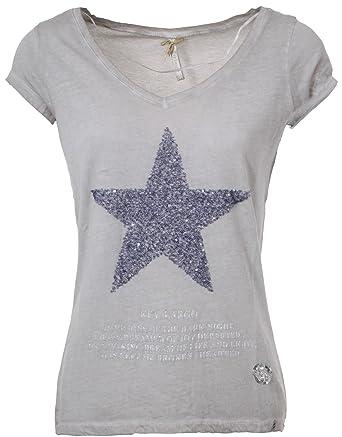 49a825250a282b Key Largo Damen T-Shirt WT Mandy Kurzarm Stern Star Glanzoptik Sommershirt