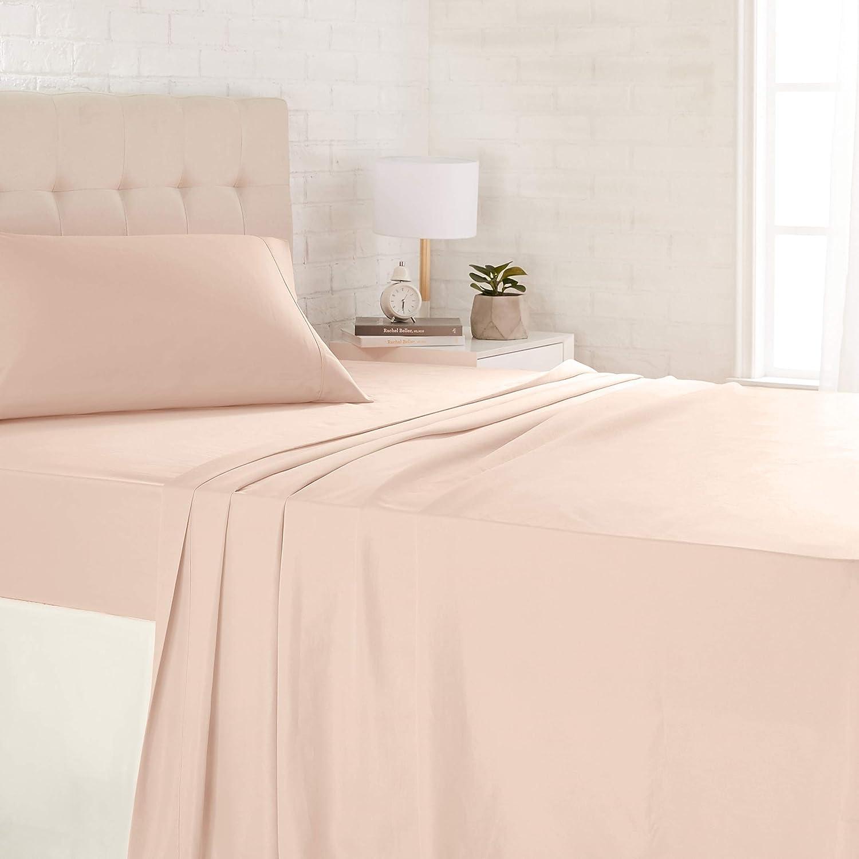 AmazonBasics Light-Weight Microfiber Sheet Set - Twin, Blush Pink
