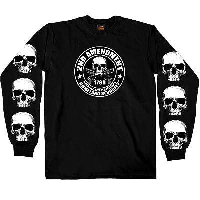 Hot Leathers Men's 2nd Amendment Long Sleeve Shirt (Black, Large): Automotive