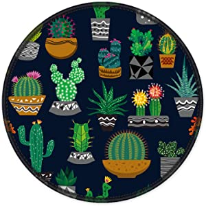 ITNRSIIET Mouse Pad, Cute Cactus with Black Design Round Mousepad. Customized Gaming Mousepads for Laptop and Computer. Cute Design Desk Accessories. Non-Slip, Stitched Edges, Waterproof