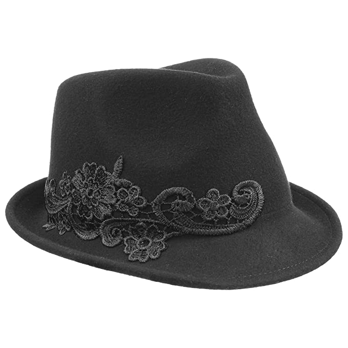 Evelina Cappello Trilby da Donna cappello in lana cappello feltro di lana  Taglia unica - nero ece381fc123a