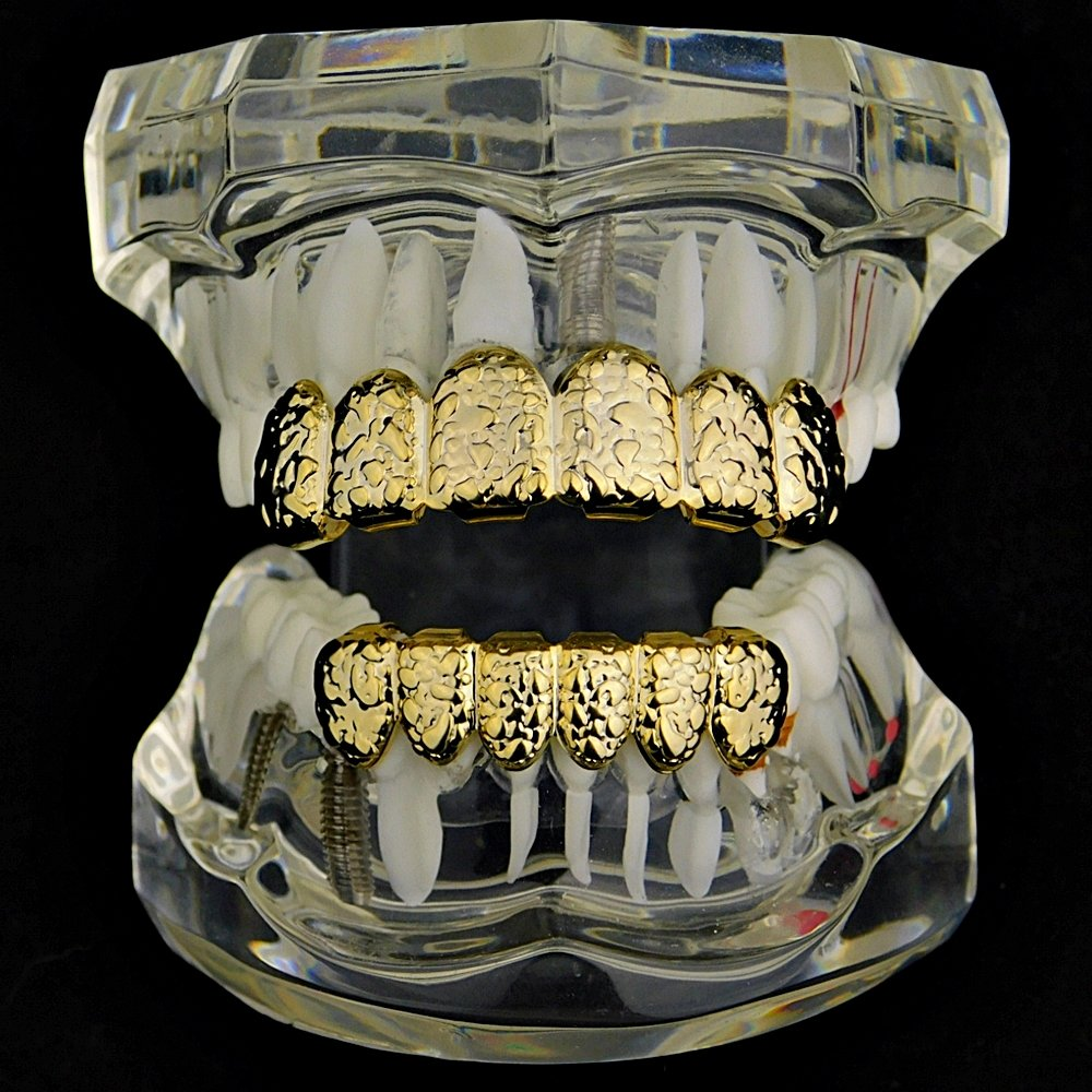 Nugget Grillz Set 14k Gold Plated Top & Bottom Teeth 12 PC Slugs Hip Hop Mouth Grills by Best Grillz (Image #2)