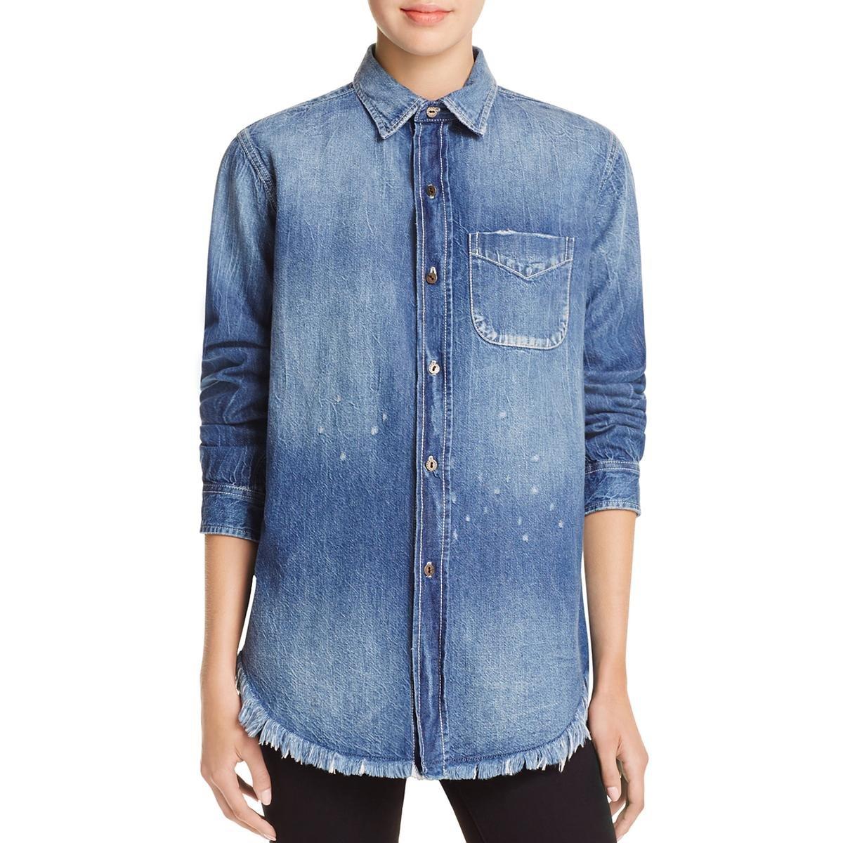 Current/Elliott Womens Collared Button-Down Denim Shirt Blue 2