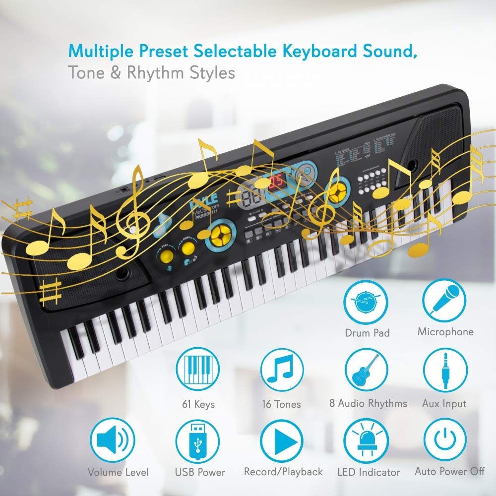 Digital Piano Kids Keyboard - Portable 61 Key Piano Keyboard, Learning Keyboard for Beginners w/ Drum Pad, Recording, Microphone, Music Sheet Stand, Built-in Speaker - Pyle