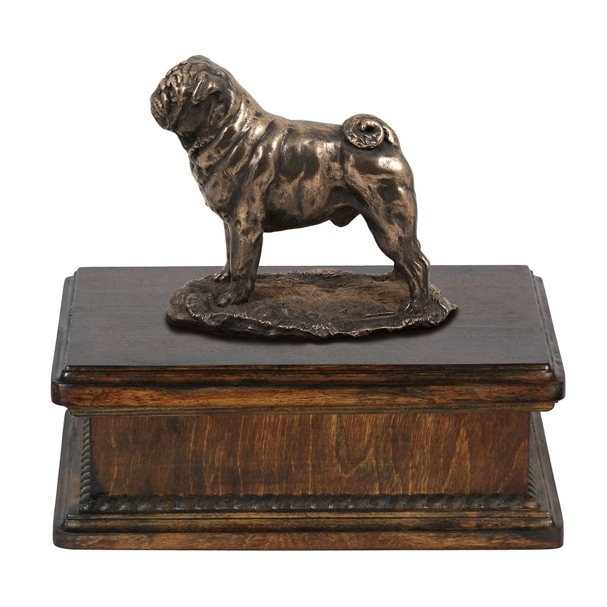 Pug, memorial, urn for dog's ashes, with dog statue, exclusive, ArtDog
