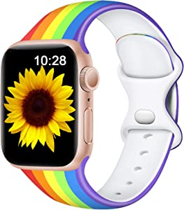 Easuny Floral Band Compatible for Apple Watch 40mm 38mm Womens Girls - Cute Fadeless Floral Soft Pattern Printed Silicone Replacement Wristband for iWatch SE & Series 6/5/4/3/2/1,Striped Rainbow,S/M