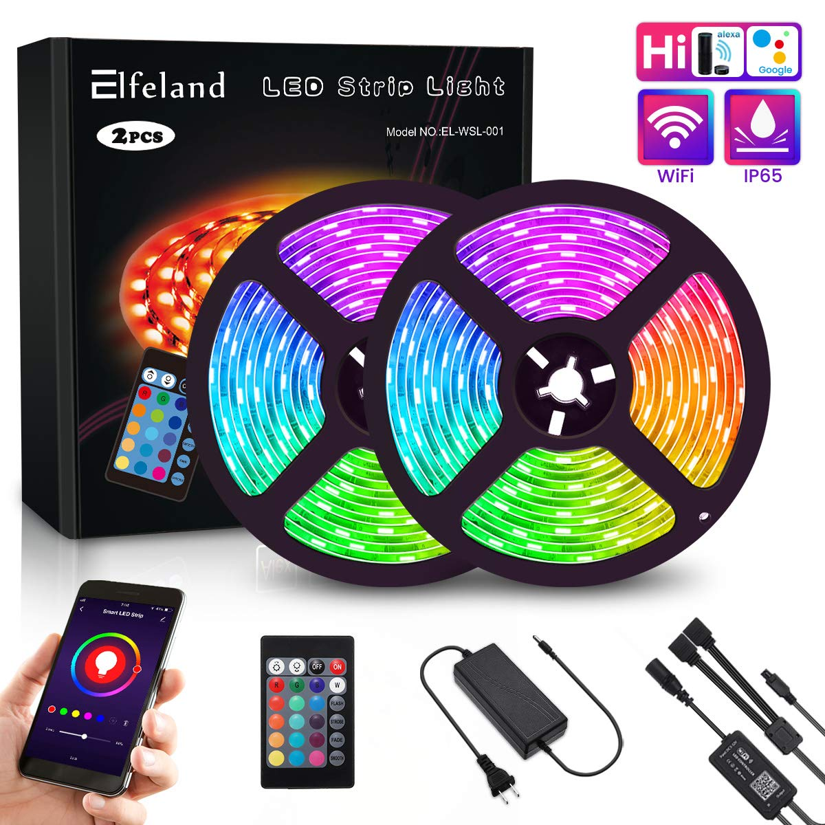 LED Strip Lights, Elfeland WiFi 32.8FT 10M 300 LEDs SMD 5050 Color Changing Kit Work with Alexa Google Assistant Strip Lights Wireless Phone APP Controlled Rope Light Waterproof Flexible Tape Lights by Elfeland