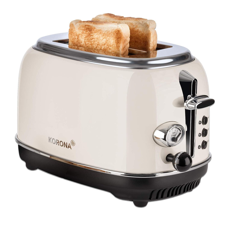 zwei schlitze retro toaster in beige mit chromrand