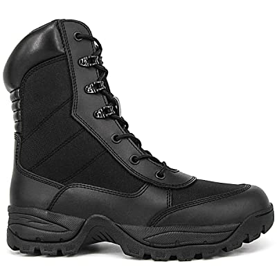 WIDEWAY Men's 8'' Military Tactical Boots Outdoor Water Resistant Boots with Zipper: Shoes