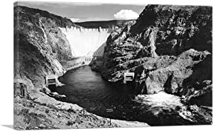 "ARTCANVAS Hoover Dam (Formerly Boulder Dam) from Across The Colorado River - Nevada Canvas Art Print by Ansel Adams - 40"" x 26"" (0.75"" Deep)"