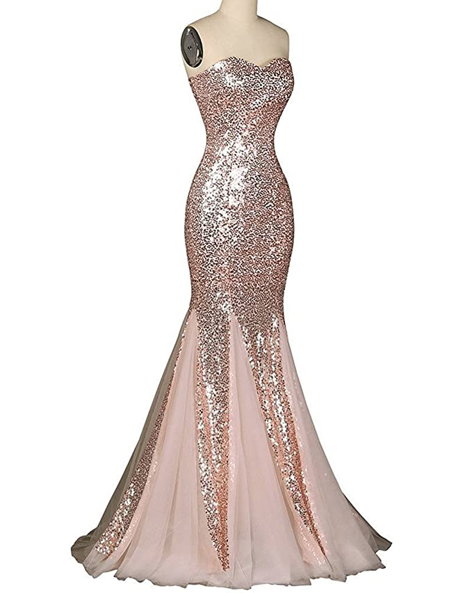Udresses Womens 2017 Sequin Prom Dress Sweetheart Mermaid Party Evening Gown BR7 at Amazon Womens Clothing store: