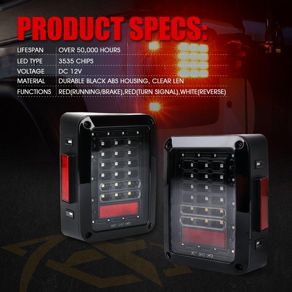 Xprite Smoked LED Tail Lights for 2007-2018 Jeep Wrangler JK JKU Tail Lamps Brake Reverse Light Rear w//Turn Signal /& /& Back Up