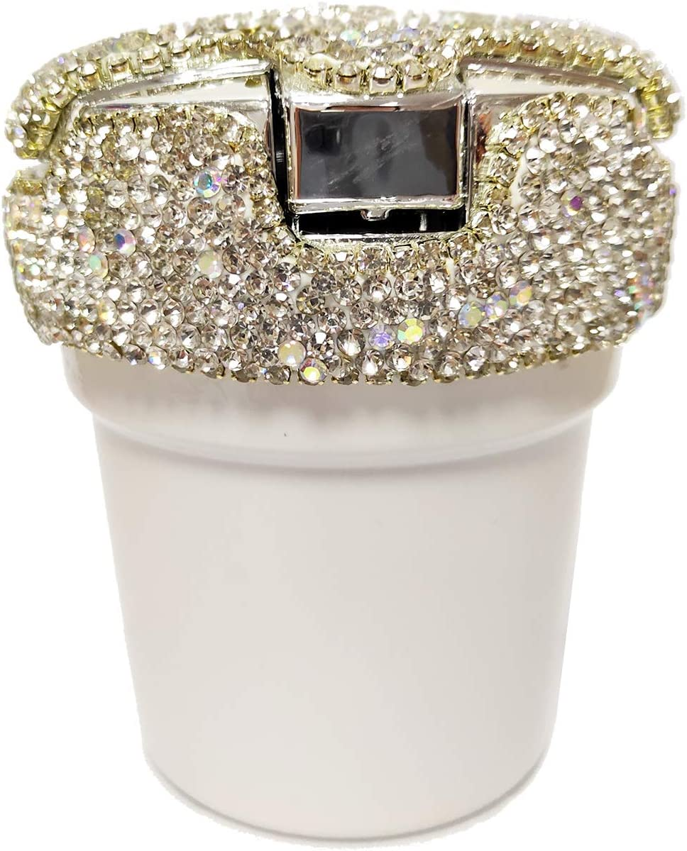 White seemehappy Bling Bling Diamond Car Ashtray Cup Holder with Lid and Light Bling Car Accessories for Women