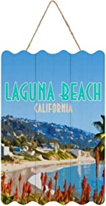 Tamengi Wood Hanging Sign Wall Art Sign Wall Hanging Decoration Family Home Decor 12x8 inch Funny Plaque Sign - Laguna Beach Orange County California Vintage Keychain